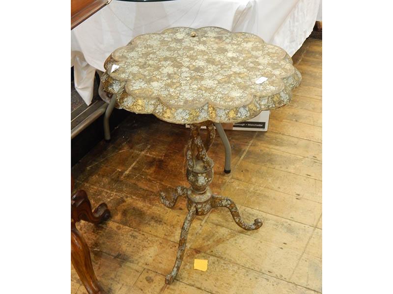 The-Cotswold-Auction-Company-Victorian Kashmire painted papie mache tripod table sold for £1,150