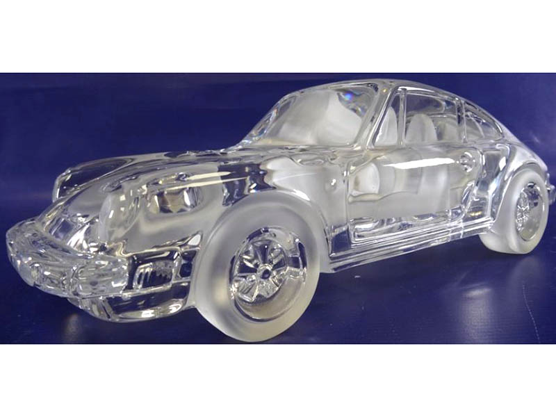 Large Daum , France, clear glass and satin glass model Porsche 911 sports car sold for £190
