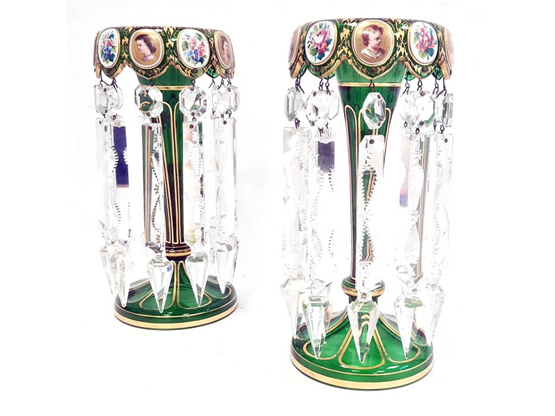 Pair of Victorian Bohemian overlay green glass sold for £1,150