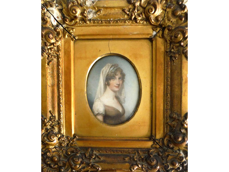 The-Cotswold-Auction-Company-Attributed to Will Wood (Late 18th-early 19th Century) oval portrait miniature on Ivory, inscribed in pen verso sold for £1,450