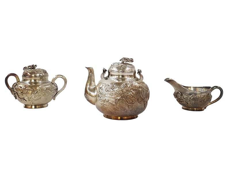 The-Cotswold-Auction-Company-Chinese Sterling white metal three peice tea service sold for £1,450