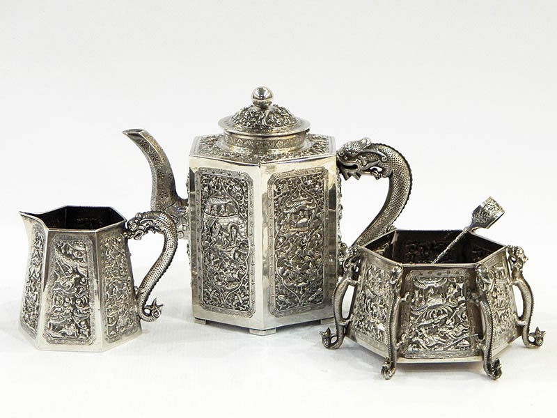 The-Cotswold-Auction-Company-Chinese silver tea service of three pieces sold for £2,500