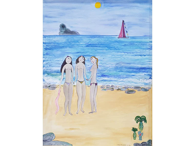 The-Cotswold-Auction-Company-Dora Holzhandler (1928 - 2015)Oil on canvas Three semi nude women on a beach sold for £2600