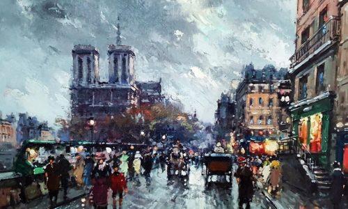 cotswold auction - Antoine Blachard, oil, Notre Dame street scene, est £2000-£3000 resized