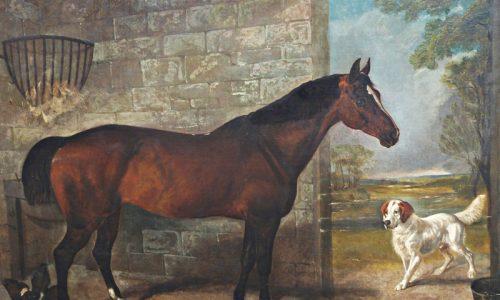 E J Keeling (1856-1873) oil horse and dog, est. £400 - £600